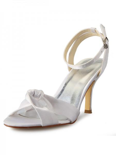 Women's Stiletto Heel Peep Toe Satäng Dekorera med Buckle Mary Jane Vit Bröllop Skor