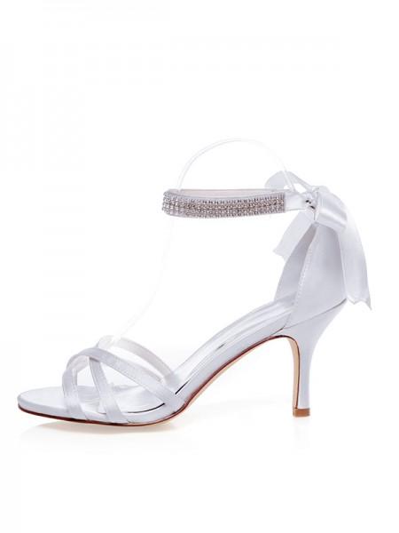 Women's Satäng Peep Toe Stiletto Heel Silk Bröllop Skor