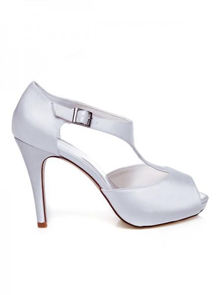Women's Satäng Peep Toe Buckle Stiletto Heel Bröllop Skor