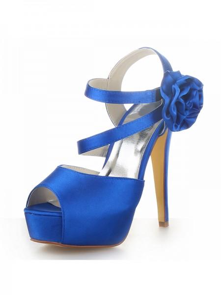 Women's Satäng Peep Toe Platform Stiletto Heel Dekorera med Blommor Sandalerer Skor