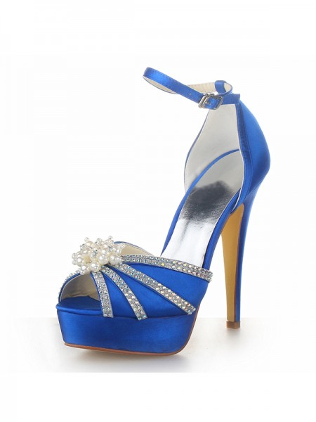 Women's Satäng Stiletto Heel Platform Peep Toe Dekorera med Pärlor Royal Blå Bröllop Skor