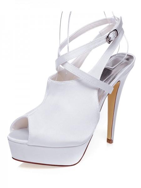 Women's Satäng Peep Toe Stiletto Heel Knots Bröllop Skor