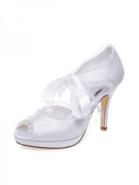 Women's Satäng Peep Toe Silk Stiletto Heel Bröllop Skor