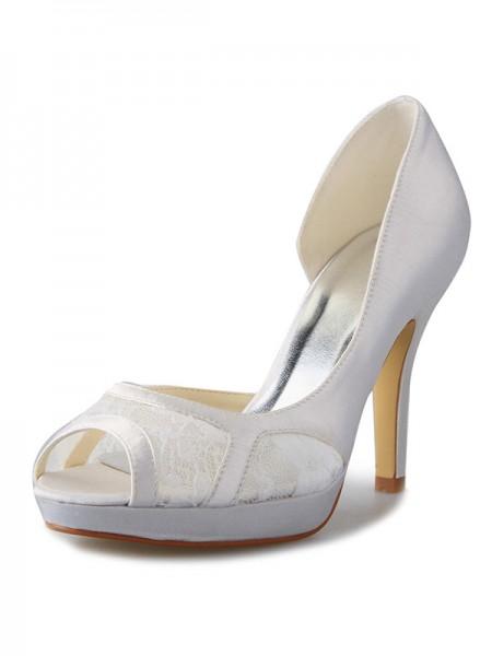 Women's Stiletto Heel Satäng Platform Peep Toe Dekorera med Spetsar Vit Bröllop Skor