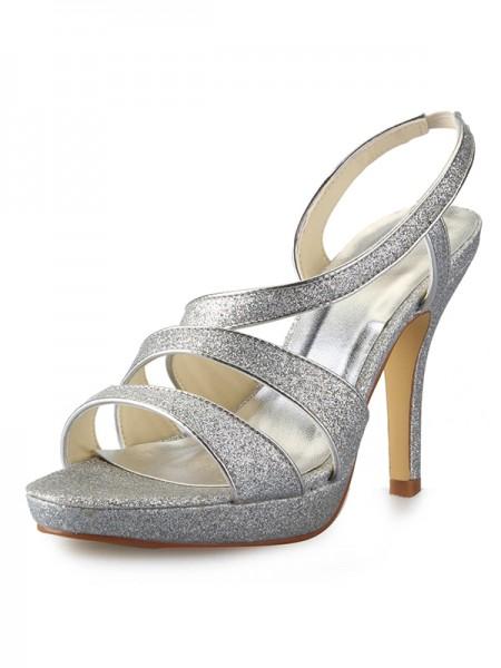 Women's Cone Heel Platform Satäng Peep Toe Dekorera med Sparkling Glitter Sandalerer Skor