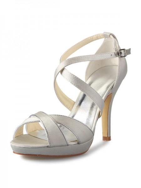 Women's Satäng Stiletto Heel Platform Peep Toe Dekorera med Buckle Dansskor