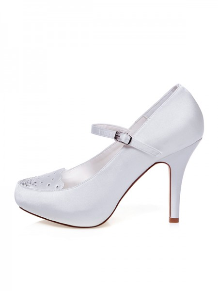 Women's Satäng Closed Toe Buckle Stiletto Heel Bröllop Skor