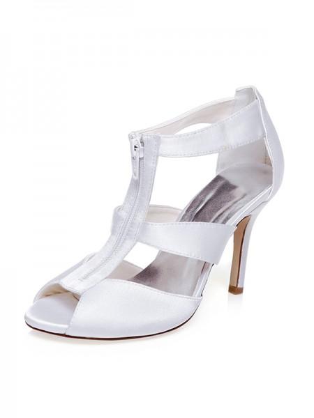 Women's Satäng Peep Toe Zipper Stiletto Heel Bröllop Skor
