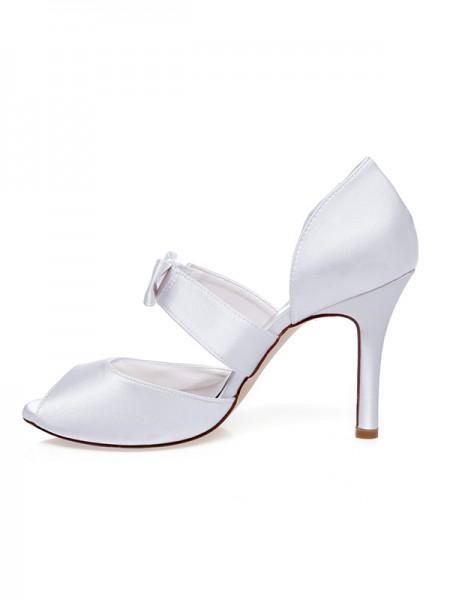 Women's Satäng Peep Toe Rosett Stiletto Heel Bröllop Skor
