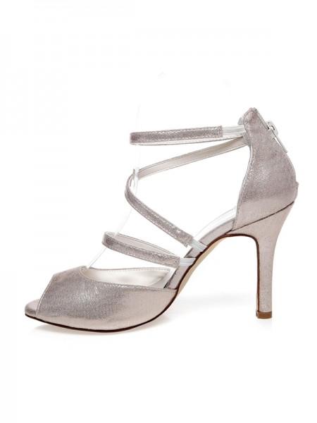 Women's PU Peep Toe Zipper Stiletto Heel Bröllop Skor