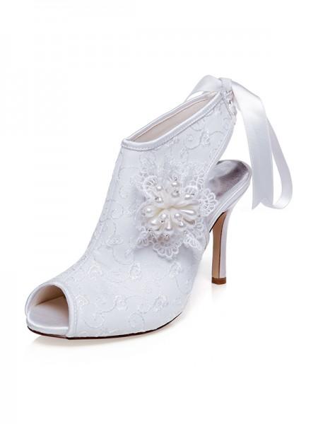 Women's Satäng Peep Toe Blommor Stiletto Heel Bröllop Skor