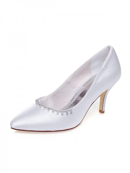 Women's Satäng Closed Toe Pärlbrodering Stiletto Heel Bröllop Skor