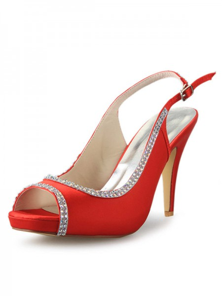 Women's Satäng Platform Cone Heel Peep Toe Dekorera med Rhen Sten Red Bröllop Skor