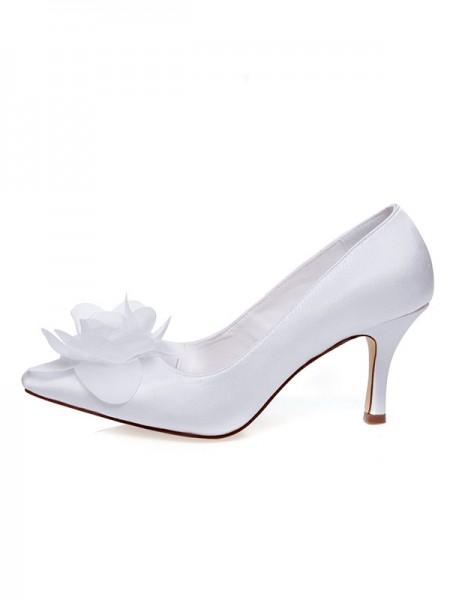 Women's Satäng Closed Toe Spool Heel Blommor Bröllop Skor