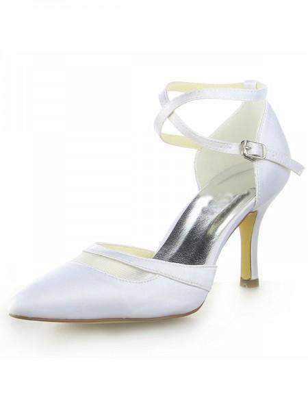 Women's Vit Satäng Closed Toe Spool Heel Dekorera med Buckle Vit Bröllop Skor