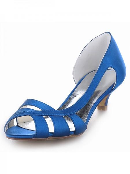 Women's Satäng Peep Toe Kitten Heel Sandalerer Skor