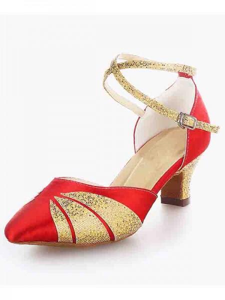 Women's Satäng Closed Toe Chunky Heel Buckle Sparkling Glitter Dansskor