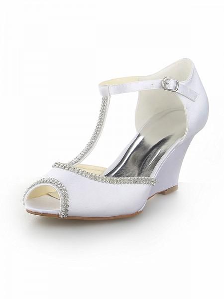 Women's Peep Toe T-Strap Dekorera med Rhen Sten Satäng kilar Heel Vit Bröllop Skor