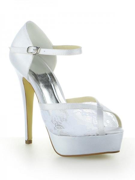 Women's Satäng Spetsar Platform Peep Toe Dekorera med Buckle Stiletto Heel Vit Bröllop Skor