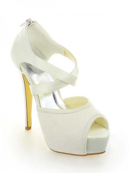 Women's Satäng Spetsar Platform Peep Toe Stiletto Heel Dekorera med Zipper Vit Bröllop Skor