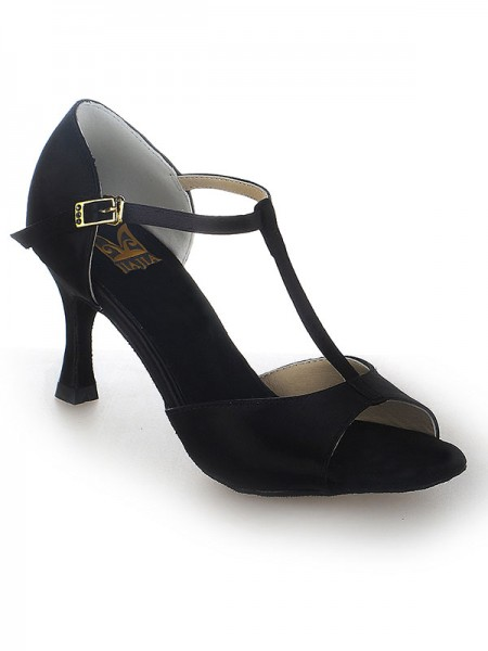 Women's Satäng Stiletto Heel Peep Toe Buckle Dansskor