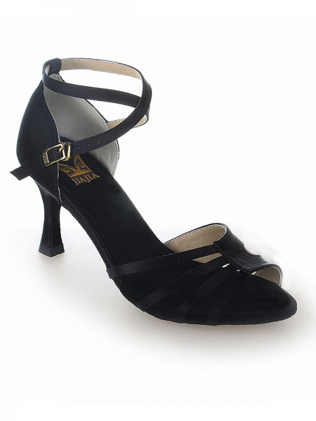Women's Peep Toe Satäng Stiletto Heel Buckle Dansskor