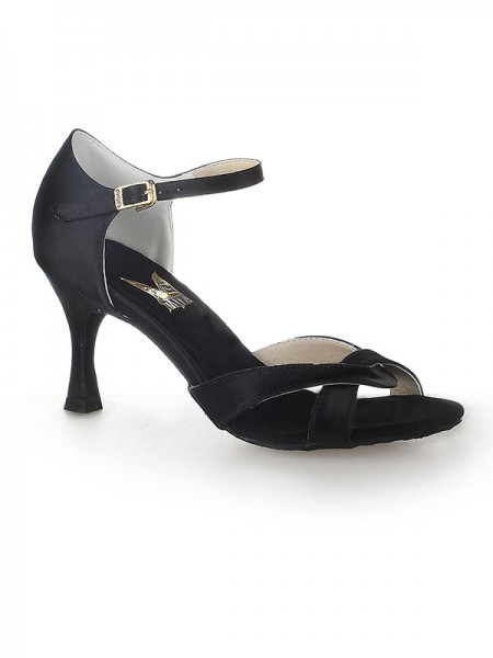 Women's Satäng Peep Toe Stiletto Heel Buckle Dansskor