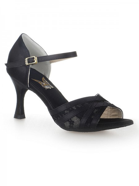 Women's Peep Toe Stiletto Heel Satäng Buckle Dansskor