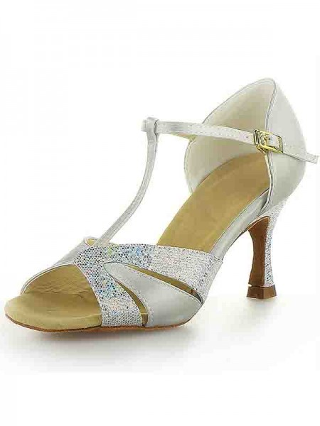 Women's Satäng Stiletto Heel Peep Toe Buckle Sparkling Glitter Dansskor
