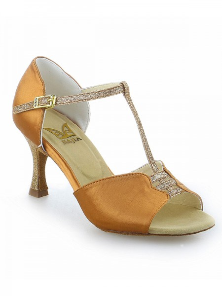Women's Stiletto Heel Buckle Peep Toe Satäng Dansskor