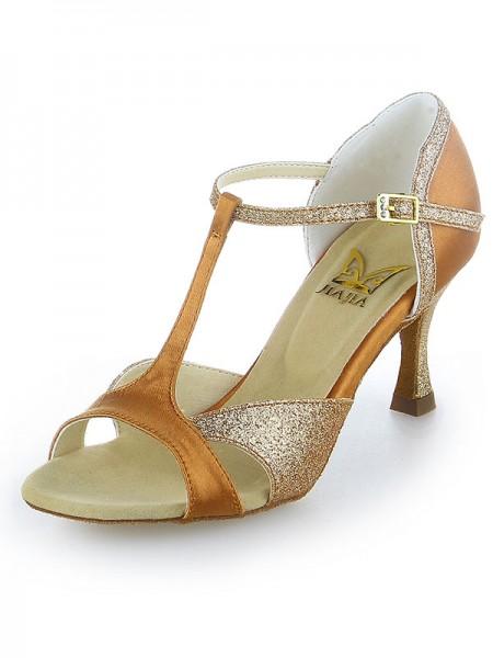 Women's Satäng Peep Toe Sparkling Glitter Stiletto Heel Dansskor