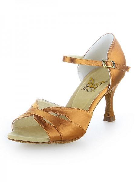 Women's Peep Toe Satäng Buckle Stiletto Heel Dansskor