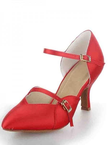 Women's Stiletto Heel Satäng Closed Toe Buckle Dansskor