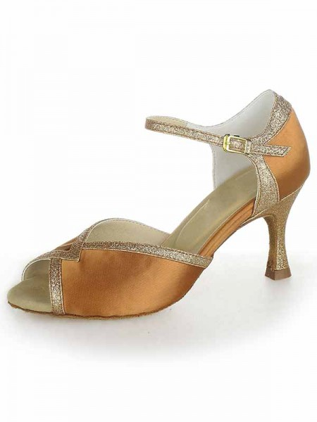 Women's Stiletto Heel Satäng Peep Toe Sparkling Glitter Dansskor