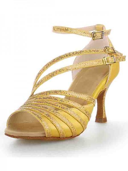Women's Peep Toe Stiletto Heel Satäng Sparkling Glitter Dansskor