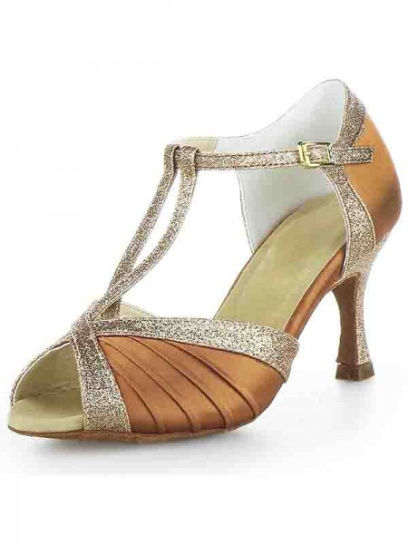 Women's Stiletto Heel Satäng Peep Toe Buckle Sparkling Glitter Dansskor
