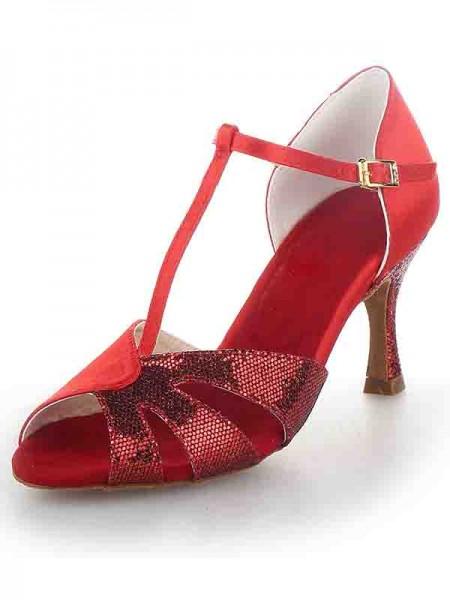 Women's T-Strap Peep Toe Stiletto Heel Satäng Sparkling Glitter Dansskor