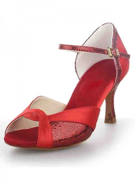 Women's Satäng Peep Toe Stiletto Heel Sparkling Glitter Dansskor