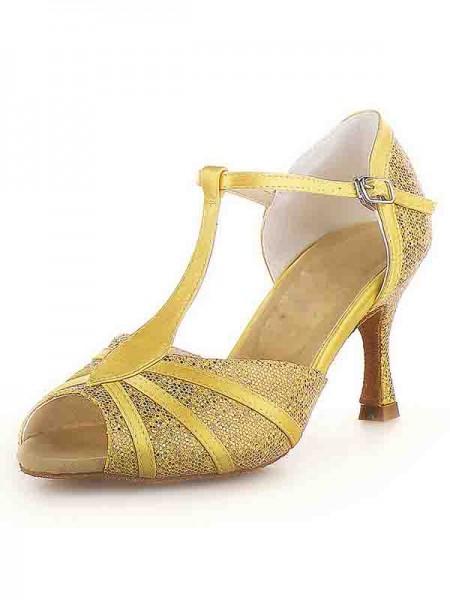 Women's Peep Toe Stiletto Heel Satäng Buckle Sparkling Glitter Dansskor
