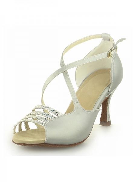 Women's Peep Toe Satäng Spool Heel Dekorera med Buckle Ivory Bröllop Skor