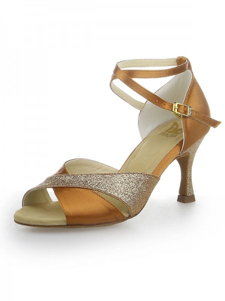 Women's Peep Toe Sparkling Glitter Satäng Stiletto Heel Dansskor