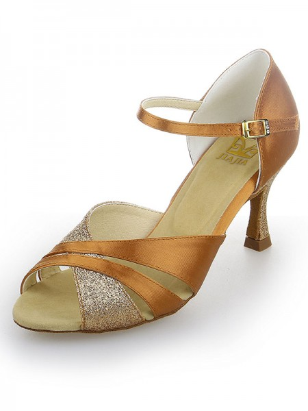Women's Peep Toe Satäng Stiletto Heel Sparkling Glitter Dansskor