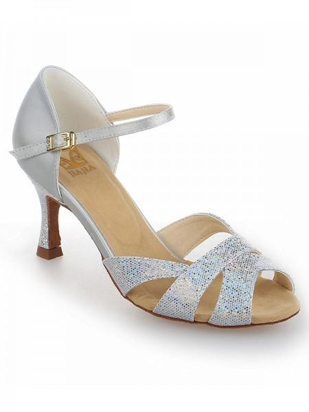 Women's Satäng Stiletto Heel Peep Toe Dekorera med Sparkling Glitter Dansskor