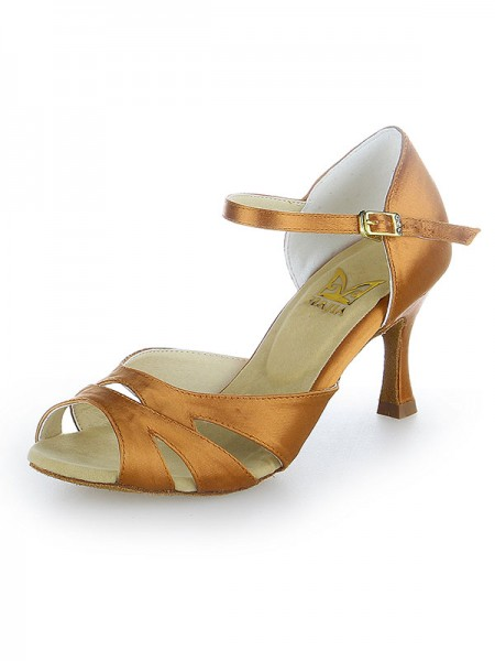 Women's Peep Toe Buckle Satäng Stiletto Heel Dansskor