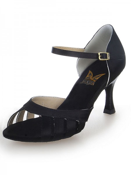 Women's Satäng Peep Toe Buckle Stiletto Heel Dansskor