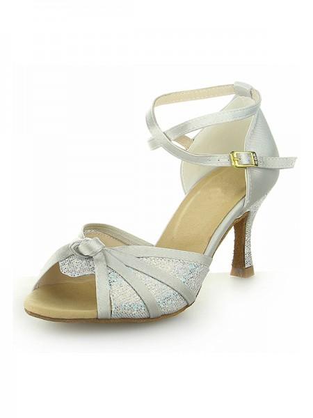 Women's Peep Toe Dekorera med Sparkling Glitter Satäng Stiletto Heel Dansskor
