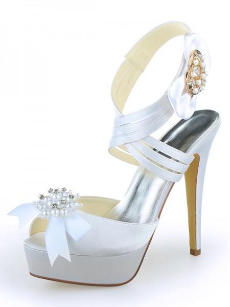 Women's Satäng Peep Toe Platform Stiletto Heel Dekorera med Pärlor Vit Bröllop Skor