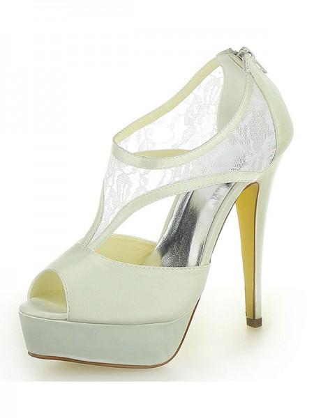 Women's Stiletto Heel Satäng Platform Peep Toe Dekorera med Zipper Ivory Bröllop Skor