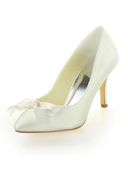 Women's Stiletto Heel Satäng Closed Toe Dekorera med Rosett Ivory Bröllop Skor