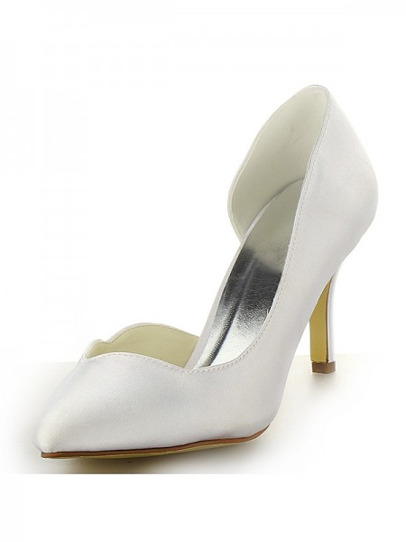 Women's Satäng Closed Toe Stiletto Heel Vit Bröllop Skor